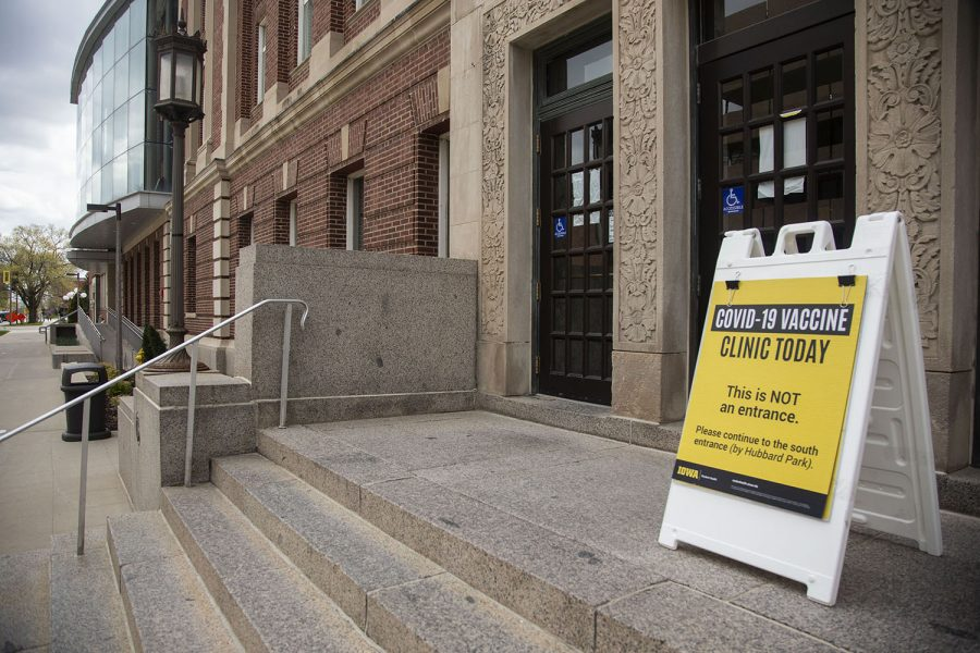 A sign is seen outside the Iowa Memorial Union for the vaccine clinic at the University of Iowa on Wednesday, April 21, 2021.