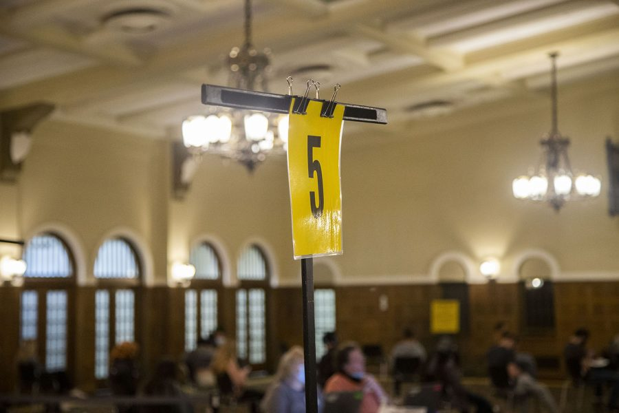 A station number is seen in the Iowa Memorial Union at the University of Iowa on Wednesday, April 21, 2021, where COVID-19 vaccines are being given out.