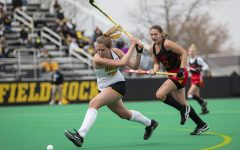 Iowa midfielder Ellie Holley attempts to score during the second quarter of the Big Ten field hockey tournament quarterfinals against No. 4 Maryland on Wednesday, April 21, 2021 at Grant Field. Holley scored Iowa's first goal of the game at four minutes into the first quarter with an assist from forwards Leah Zellner and Maddy Murphy. The Hawkeyes defeated the Terrapins, 3-0. No. 5 Iowa will go on to play No. 1 Michigan tomorrow afternoon.