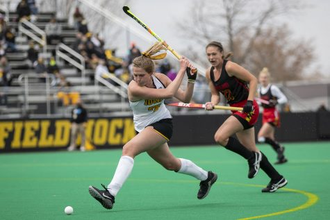 Iowa midfielder Ellie Holley attempts to score during the second quarter of the Big Ten field hockey tournament quarterfinals against No. 4 Maryland on Wednesday, April 21, 2021 at Grant Field. Holley scored Iowa