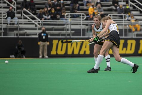 Iowa midfielder Lokke Stribos hits the ball after receiving the penalty corner shot during the second quarter of the Big Ten field hockey tournament quarterfinals against No. 4 Maryland on Wednesday, April 21, 2021 at Grant Field. The Hawkeyes defeated the Terrapins, 3-0. No. 5 Iowa will go on to play No. 1 Michigan tomorrow afternoon.