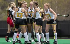 Iowa players celebrate their second goal of the game during the first quarter of the Big Ten field hockey tournament quarterfinals against No. 4 Maryland on Wednesday, April 21, 2021 at Grant Field. Alex Wesneski scored seven minutes into the game with an assist from Esme Gibson. The Hawkeyes defeated the Terrapins, 3-0. No. 5 Iowa will go on to play No. 1 Michigan tomorrow afternoon.