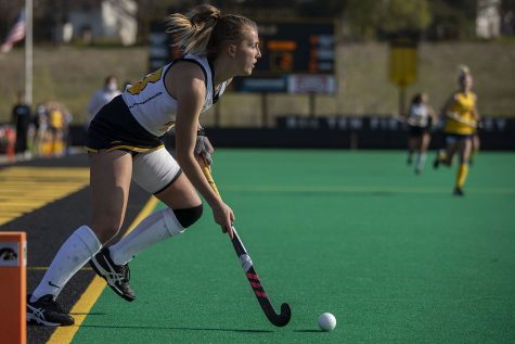 Iowa forward Leah Zellner brings the ball into play during the fourth quarter of the Big Ten field hockey tournament semifinals against No. 1 Michigan on Thursday, April 22, 2021 at Grant Field. With five minutes left of the game, Iowa pulled their goalkeeper to replace the position with another player on offense. The Hawkeyes were defeated by the Wolverines, 0-2. Michigan will go on to play against No. 7 Ohio State in the championships on Saturday.