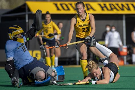 Iowa forward Alex Wesneski attempts a shot on the goal during the fourth quarter of the Big Ten field hockey tournament semifinals against No. 1 Michigan on Thursday, April 22, 2021 at Grant Field. With five minutes left of the game, Iowa pulled their goalkeeper to replace the position with another player on offense. The Hawkeyes were defeated by the Wolverines, 0-2. Michigan will go on to play against No. 7 Ohio State in the championships on Saturday.