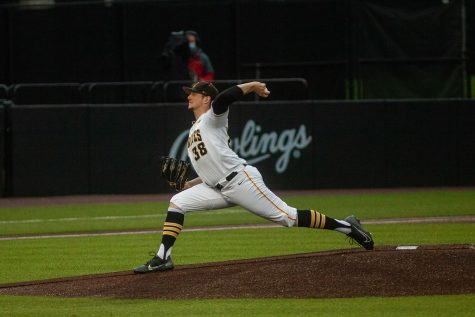 Iowa's Trenton Wallace pitches during a baseball game between Iowa and Maryland on Friday, April 23, 2021 at Duane Banks Baseball Stadium. The Hawkeyes defeated the Terrapins 6-2.