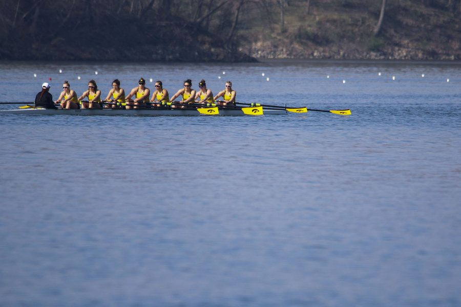 The Iowa Hawkeyes cool down while heading back to the dock after their race on Saturday, April 24, 2021.