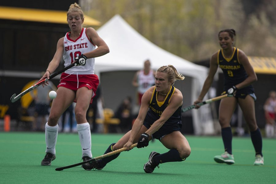 Michigan forward Tina D'Anjolell makes a shot near the goal during the fourth quarter of the Big Ten field hockey tournament championships between No. 1 Michigan and No. 7 Ohio State on Saturday, April 24, 2021 at Grant Field in Iowa City. After defeating No. 5 Iowa in the semifinals on Thursday, Michigan continued on to win the 2021 Big Ten field hockey tournament title. The Wolverines defeated the Buckeyes, 4-0.