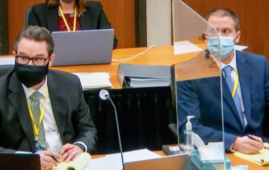 Minneapolis  Defense Attorney Eric Nelson, and former Minneapolis police officer Derek Chauvin, listening to a witness during Chauvins trial on April 5, 2021 in Minneapolis.
