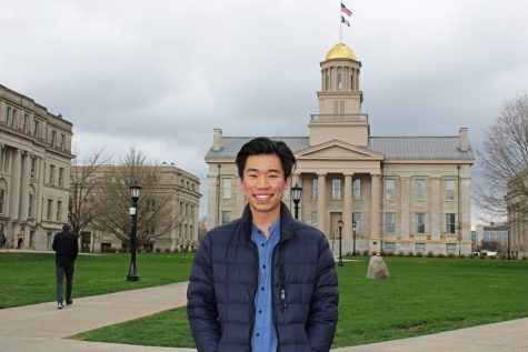 Guowei Qi, a senior studying biochemistry, math, and computer science at UI, is seen in front of the Old Capital on Thursday, April 8, 2021. Qui is one of 17 Churchill Scholars in the U.S.