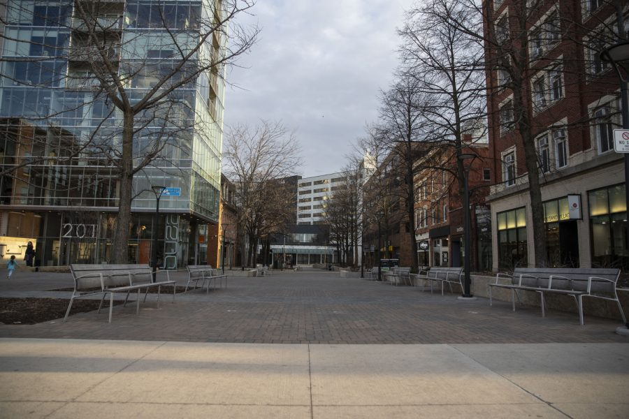 The+Ped+Mall+is+seen+on+Saturday%2C+April+4%2C+2020.+Downtown+was+quiet+during+the+first+weekend+after+spring+break+as+classes+have+been+moved+online+and+the+bars+closed+due+to+coronavirus.