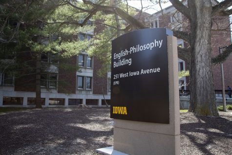The English-Philosophy Building at the University of Iowa is pictured on April 5, 2021.