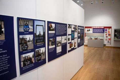 The Latino Native American Cultural Center exhibit is seen in the main library gallery in Iowa City, IA. Established in 1971, the center celebrates their 50th anniversary this year.