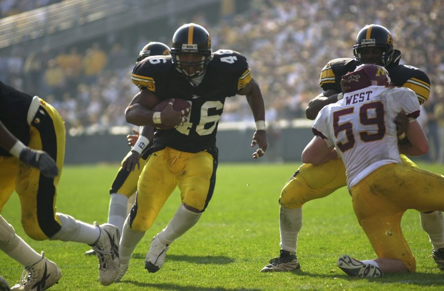 Ladell Betts finds a whole up the middle as he heads for the endzone during the Hawkeyes' victory over Minnesota on Saturday afternoon.