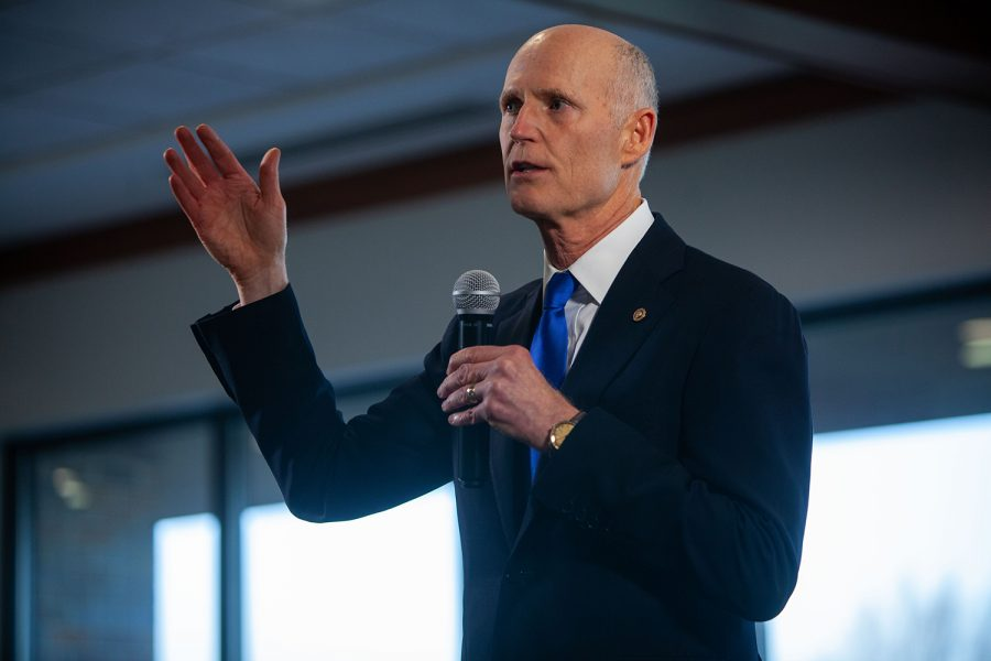 U.S. Sen. Rick Scott (R-Florida) speaks to a crowd on Thursday, April 1 at an Iowa GOP regional reception in Cedar Rapids at the Elmcrest Country Club. Scott talked about his time in the military, how he was raised and his business approach to politics.