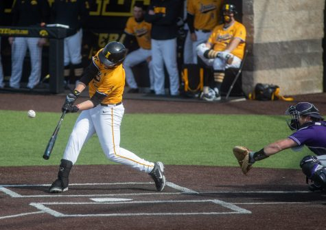 Iowa right fielder Zeb Adreon connects for a base hit during a baseball game between Iowa and Northwestern on Sunday, April 25, 2021 at Duane Banks Field. The Hawkeyes defeated the Wildcats 15-4. (Jerod Ringwald/The Daily Iowan)
