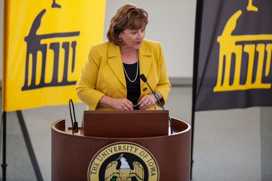 The new University of Iowa President Barbara Wilson dresses reporters in the Levitt Center for University Advancement on April 30, 2021. Wilson becomes the 22nd president for the University of Iowa and was previously the Executive Vice President and Vice President for Academic Affairs for the University of Illinois. (Ayrton Breckenridge/The Daily Iowan)
