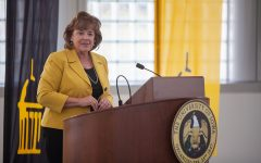 The new University of Iowa President Barbara Wilson addresses reporters in the Levitt Center for University Advancement on April 30, 2021. Wilson becomes the 22nd president for the University of Iowa and was previously the Executive Vice President and Vice President for Academic Affairs for the University of Illinois. (Ayrton Breckenridge/The Daily Iowan)