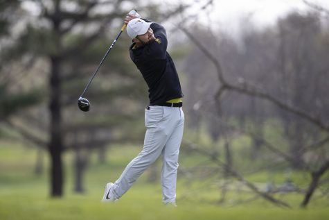 Iowa's Gonzalo Leal Montero swings during the third round of the Hawkeye Invitational at Finkbine Golf Course on Sunday, April 18, 2021. Iowa won the invitational 24 under par.