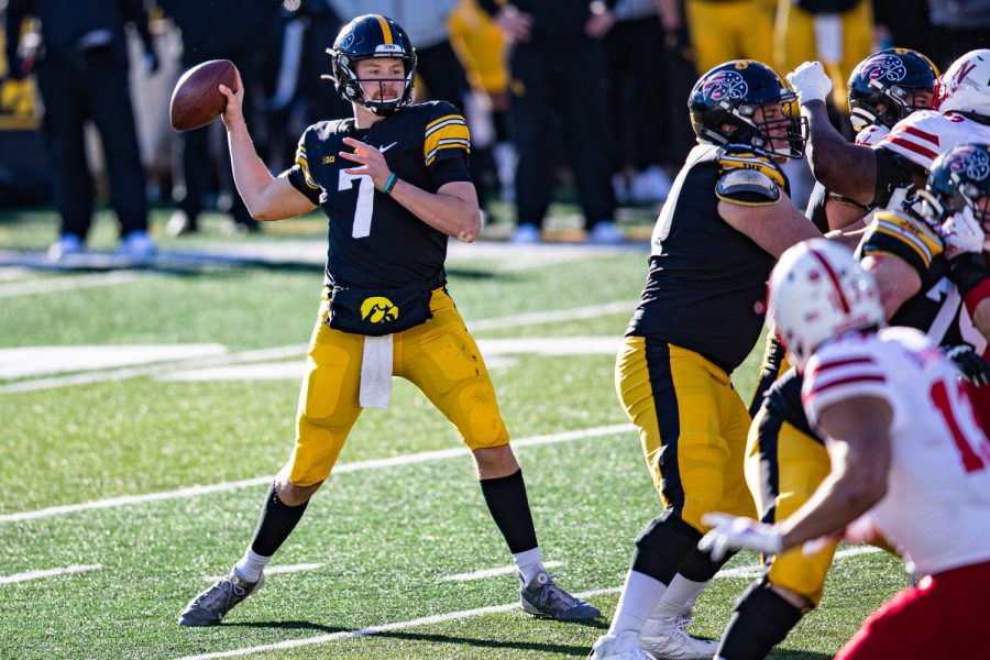 Iowa quarterback Spencer Petras attempts a pass during a football game between Iowa and Nebraska at Kinnick Stadium on Friday, Nov. 27, 2020. The Hawkeyes defeated the Cornhuskers, 26-20.