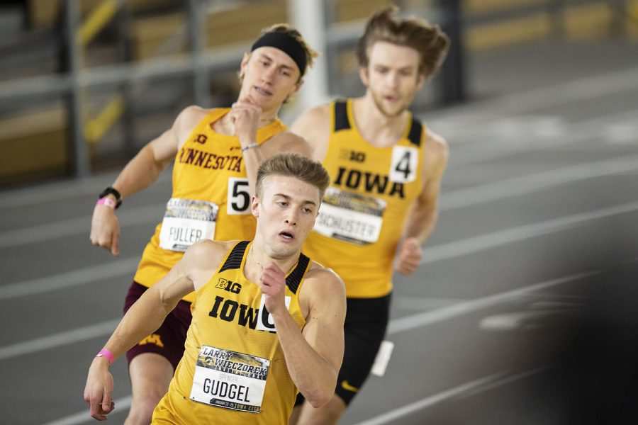 Hawkeyes+compete+during+the+second+day+of+the+Larry+Wieczorek+Invitational+on+Saturday%2C+Jan.+23%2C+2021+at+the+University+of+Iowa+Recreation+Building.+Due+to+coronavirus+restrictions%2C+the+Hawkeyes+could+only+host+Big+Ten+teams.+Iowa+men+took+first%2C+scoring+189%2C+and+women+finished+third+with+104+among+Minnesota%2C+Wisconsin%2C+Nebraska%2C+and+Illinois.+%28Jenna+Galligan%2FThe+Daily+Iowan%29