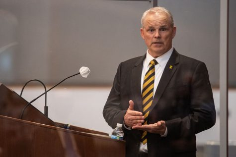 Dean of the UI College of Education Daniel Clay addresses spectators and answers questions at the Levitt Center for University Advancement on Thursday, April 22, 2021. Clay is one of four finalists to become the next president of the University of Iowa.