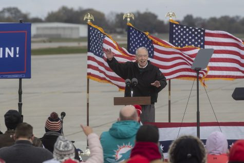 Sen. Chuck Grassley addresses the crowd during a rally for Vice President Mike Pence at the Des Moines International Airport on Thursday, Oct. 29, 2020. Vice President Pence discussed several topics including religion, Supreme Court Judge Amy Coney Barrett, and the importance of voting. The election is in five days. (Katie Goodale/The Daily Iowan)