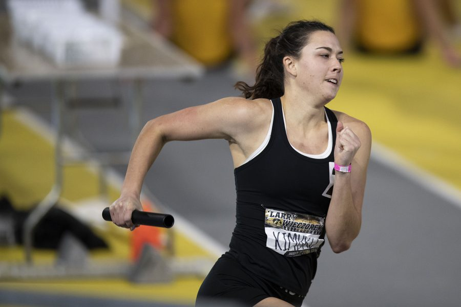 Iowa multi events competitor Jenny Kimbro runs unattached in the 4x400m relay during the second day of the Larry Wieczorek Invitational on Saturday, Jan. 23, 2021 at the University of Iowa Recreation Building. Due to coronavirus restrictions, the Hawkeyes could only host Big Ten teams. Iowa men took first, scoring 189, and women finished third with 104 among Minnesota, Wisconsin, Nebraska, and Illinois.