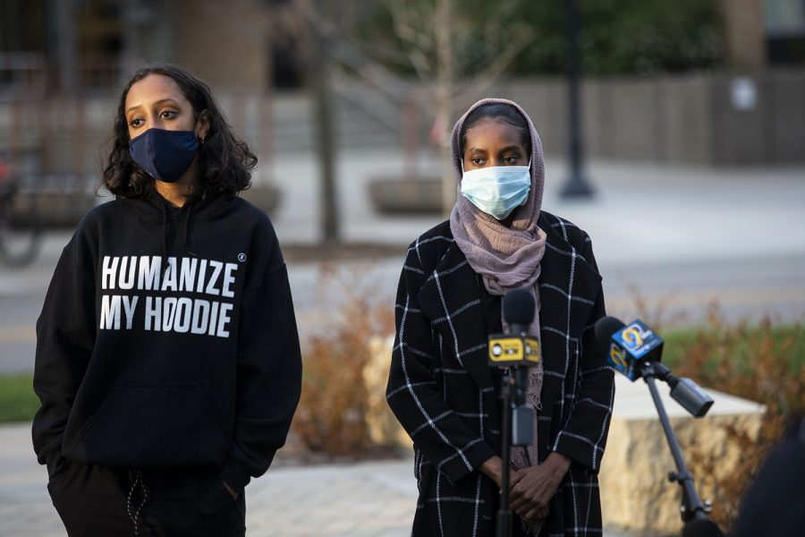 Raneem Hamad (left) and Ala Mohamed (right) speak to the press before the Peoples Truth and Reckoning Commission meeting at the Chauncey Swan Park in Iowa City on Thursday, April 15, 2021. (Grace Smith/The Daily Iowan)