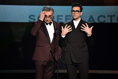 Eugene Levy, left, and Dan Levy deliver opening remarks during the 26th Annual Screen Actors Guild Awards at the Shrine Auditorium. (Robert Hanashiro/USA Today)