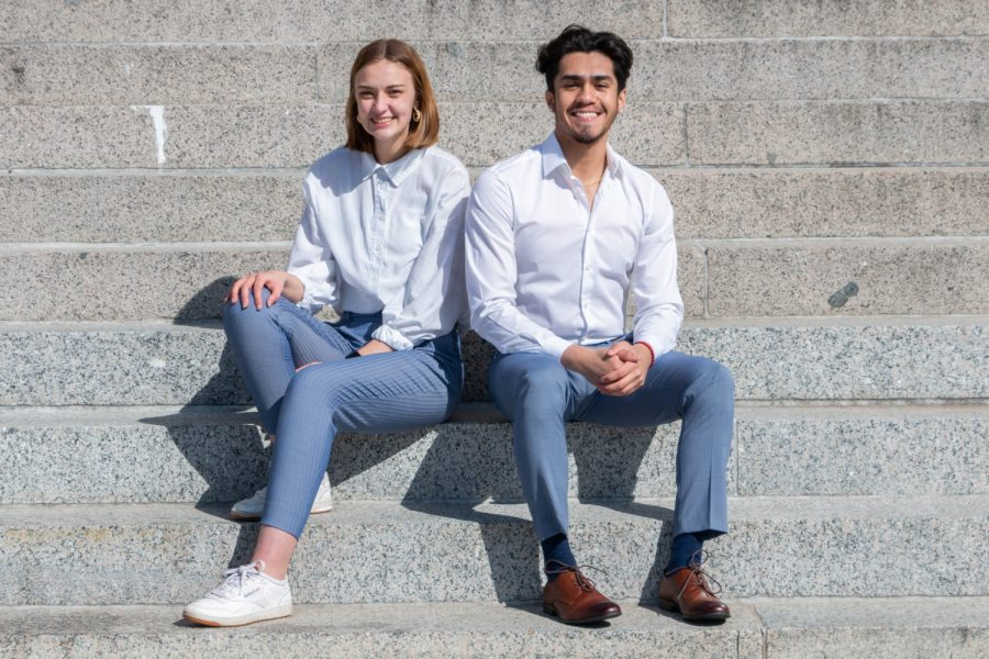 University of Iowa students José Muñiz Jr. and Regan Smock pose for a portrait outside of the Old Capital building on Sunday afternoon. Muñiz and Smock are running for office in the upcoming University Student Government election.
