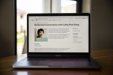 The page featuring Iowa Writers Workshop Alumna Cathy Park Hong