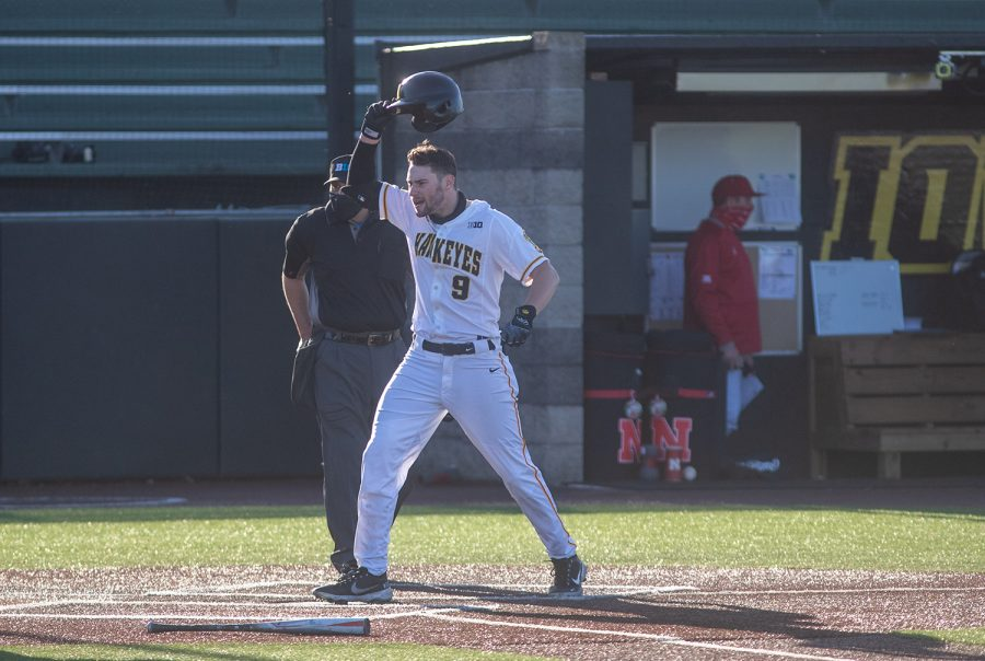 Iowa Center Fielder Ben Norman crosses home plate after hitting a home run during a baseball game between Iowa and Nebraska at Duane Banks Field on March 19, 2021. Norman drove in two runs to give the Hawkeyes a couple insurance runs. The Hawkeyes defeated the Cornhuskers 3-0.