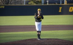 Trenton Wallace prepares to pitch during the game against Bradley on March 26, 2019 at Duane Banks Field. The Hawks took the victory, 4-2.