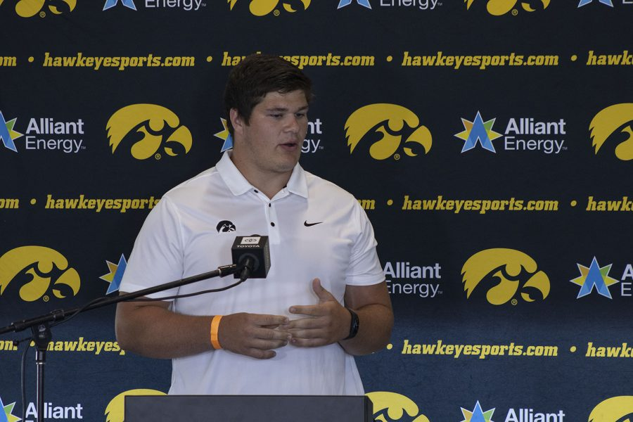 Iowa offensive lineman Tyler Linderbaum speaks at a press conference on Thursday, July 16, 2020 at the Pacha Family Club Room in Kinnick Stadium. Linderbaum discusses his role as an ally for his Black teammates and the challenges that players are facing with COVID-19 and daily workouts.