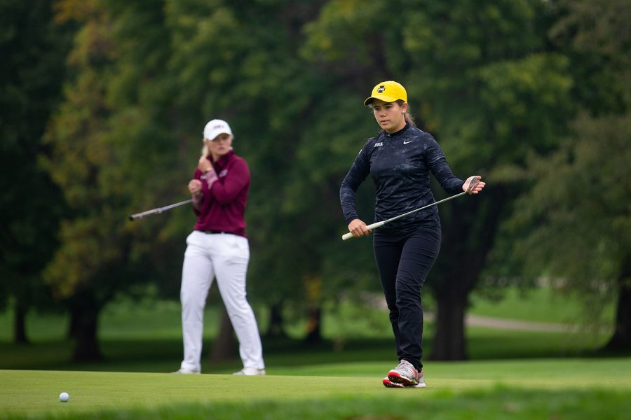 Iowas Manuela Lizarazu follows her putt during the Diane Thomason Invitational at Finkbine Golf Course on September 30th, 2018.The Hawkeyes placed 1st overall.