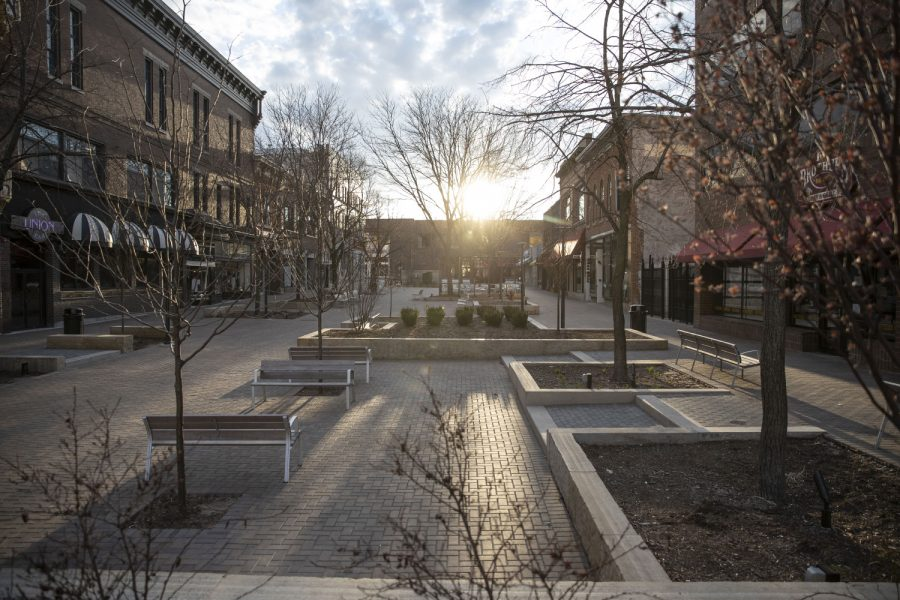 The Ped Mall is seen on Saturday, April 4, 2020. Downtown was quiet during the first weekend after spring break as classes have been moved online and the bars closed due to coronavirus. (Katie Goodale/The Daily Iowan)