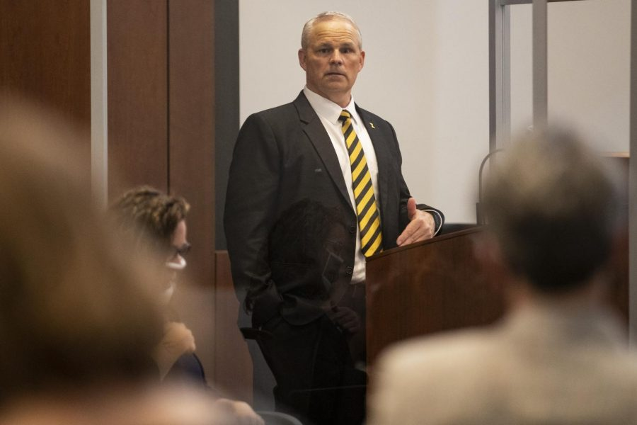 Dean of the UI College of Education Daniel Clay addresses spectators at the Levitt Center for University Advancement on Thursday, April 22, 2021. Clay is a finalist to become the University of Iowas next president.