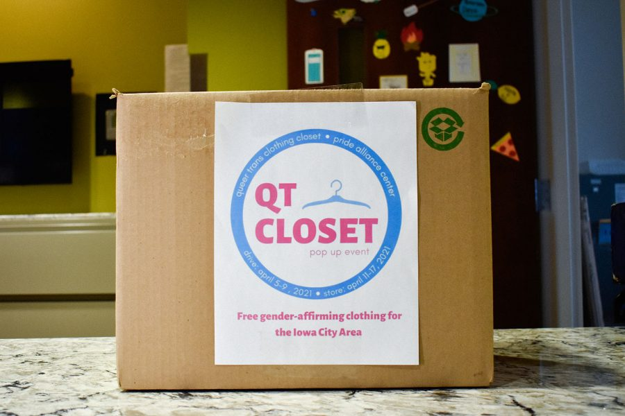 The QT Closet Drop Off box is seen at Peterson Residence Hall on April 8, 2021. The Queer Trans Clothing Closet was created by the Pride Alliance Center to offer free gender-affirming clothing for the Iowa City Area. The first pop-up will take place next week at the Pride House.