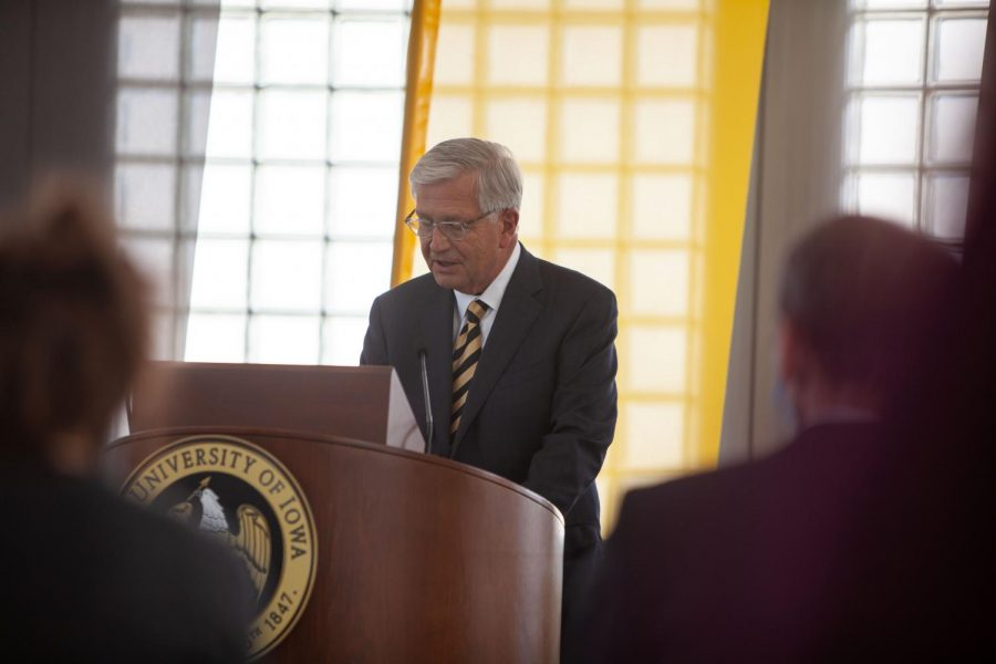 Iowa Board of Regents President Mike Richards announces Barbara Wilson as the new University of Iowa President at a press conference in the Levitt Center for University Advancement on April 30, 2021. Wilson takes over after the previous University of Iowa President, Bruce Harreld, held office for just over five years.