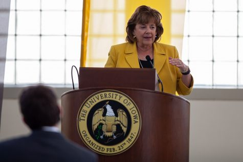 The new University of Iowa President Barbara Wilson addresses reporters in the Levitt Center for University Advancement on April 30, 2021. Wilson becomes the 22nd president for the University of Iowa and was previously the Executive Vice President and Vice President for Academic Affairs for the University of Illinois.