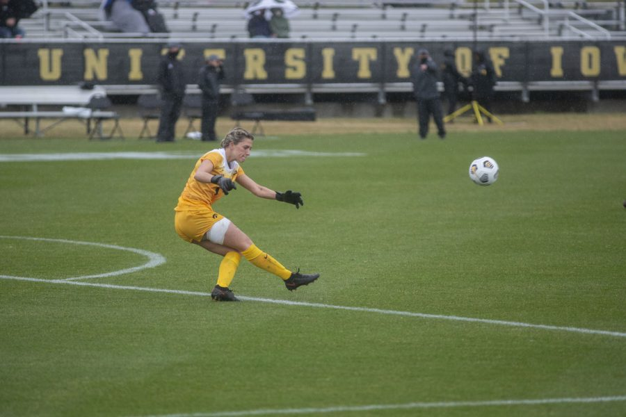 Iowa goalkeeper, Macy Enneking, kicks the ball to her teammates during the Iowa women's soccer match v. Penn State at the Iowa Soccer Complex on Thursday, March 25, 2021. The Nittany Lions defeated the Hawkeyes 1-0.