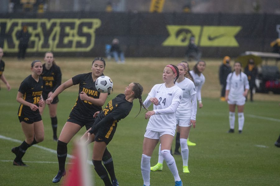Iowa forward, Meike Ingles, chest bumps the ball during the Iowa women's soccer match v. Penn State at the Iowa Soccer Complex on Thursday, March 25, 2021. The Nittany Lions defeated the Hawkeyes 1-0.