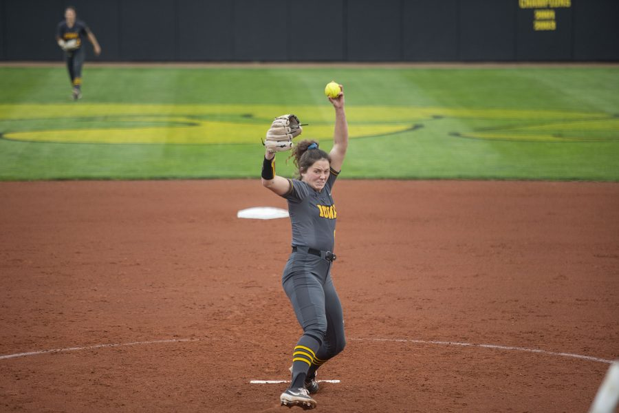 Iowa pitcher, Lauren Shaw, pitches the ball during the Iowa softball game v. Northwestern at Pearl Field on Friday, April 16, 2021. The Wildcats defeated the Hawkeyes with a score of 7-0. (Grace Smith/The Daily Iowan)