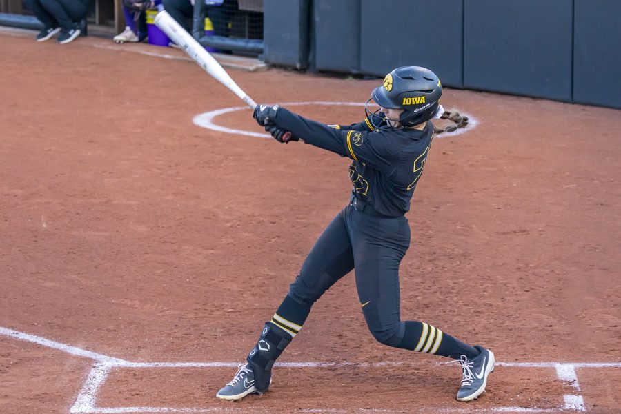 Iowa utility player Brylee Klosterman swings at a pitch during the Iowa Softball game against Northwestern on April 17, 2021 at Bob Pearl Field. Northwestern defeated Iowa 7-4. (Casey Stone/The Daily Iowan)