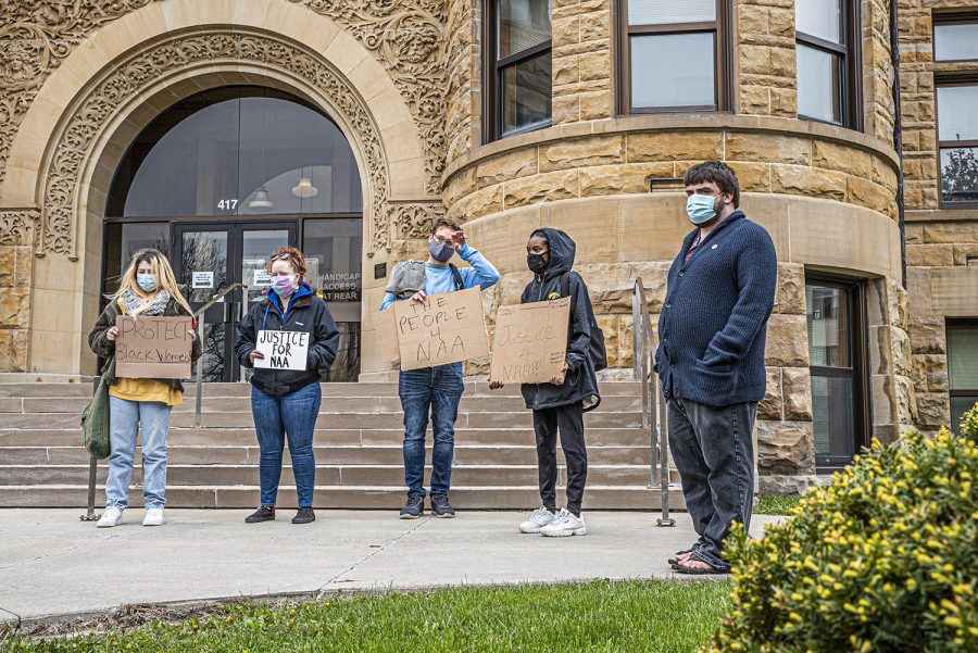 A+group+of+protesters+gather+outside+of+the+Johnson+County+Courthouse+to+advocate+for+Iowa+City+resident%2C+Naa+Adjeiwa+Tackie+on+Monday%2C+April+19%2C+2021.++
