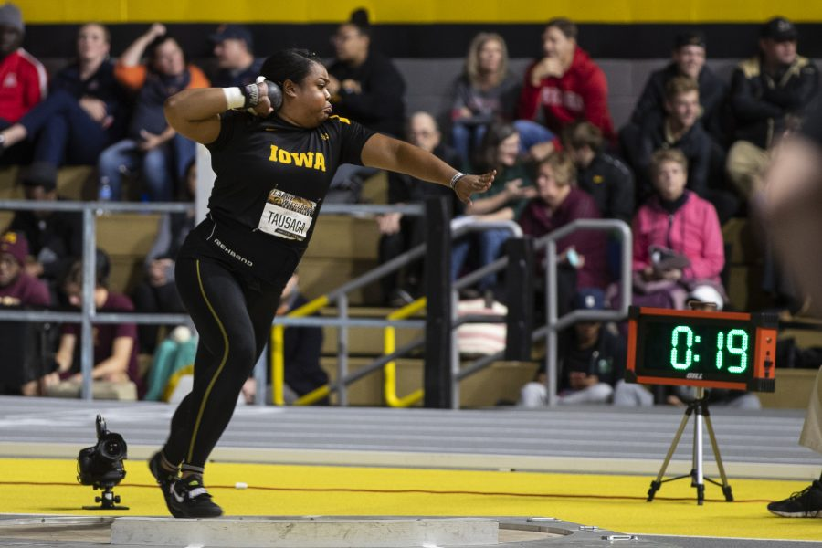 Iowa thrower Laulauga Tausaga competes in the women's shot put premiere during the fourth annual Larry Wieczorek Invitational at the University of Iowa Recreation Building on Friday, Jan 17, 2020. Tausaga's 16.72m throw earned her sixth place, behind five throwers who surpassed the previous meet record of 17.13m.