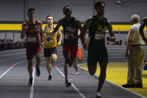 Iowa multi-event competitor Will Daniels competes in the 4x400m relay during the fourth annual Larry Wieczorek Invitational at the University of Iowa Recreation Building on Saturday, Jan 18, 2020.