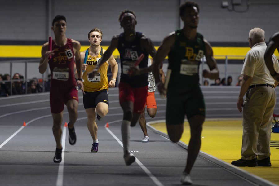 Iowa+multi-event+competitor+Will+Daniels+competes+in+the+4x400m+relay+during+the+fourth+annual+Larry+Wieczorek+Invitational+at+the+University+of+Iowa+Recreation+Building+on+Saturday%2C+Jan+18%2C+2020.+