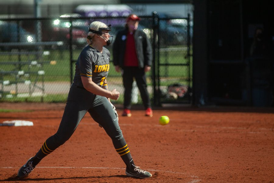 Iowa right-handed pitcher Sarah Lehman pitches during a softball game between Iowa and Indiana at Bob Pearl Softball Field on Friday, April 2. After nine innings of play, the Hoosiers defeated the Hawkeyes 4-1.