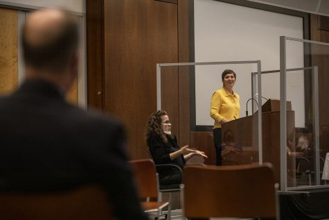 Georgia State University Provost and Senior Vice President for Academic Affairs Wendy Hensel speaks during the third UI Presidential Forum in the Levitt Center for University Advancement, Monday, April 19, 2021, in Iowa City, Iowa. Hensel is the third of four candidates vying for the UI presidential position.